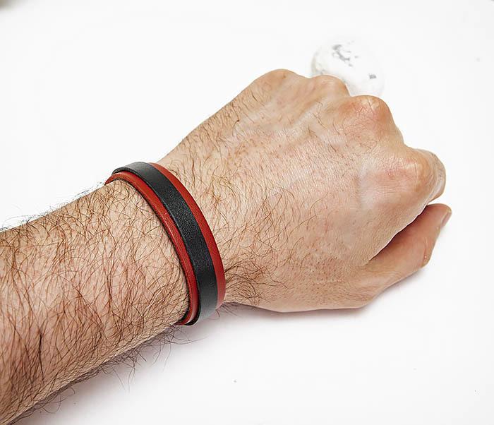BL793-3 Мужской браслет из красной и черной натуральной кожи фото 06