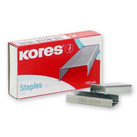 Скобы для степлера №24/6 Kores никелированные (1000 штук в упаковке)