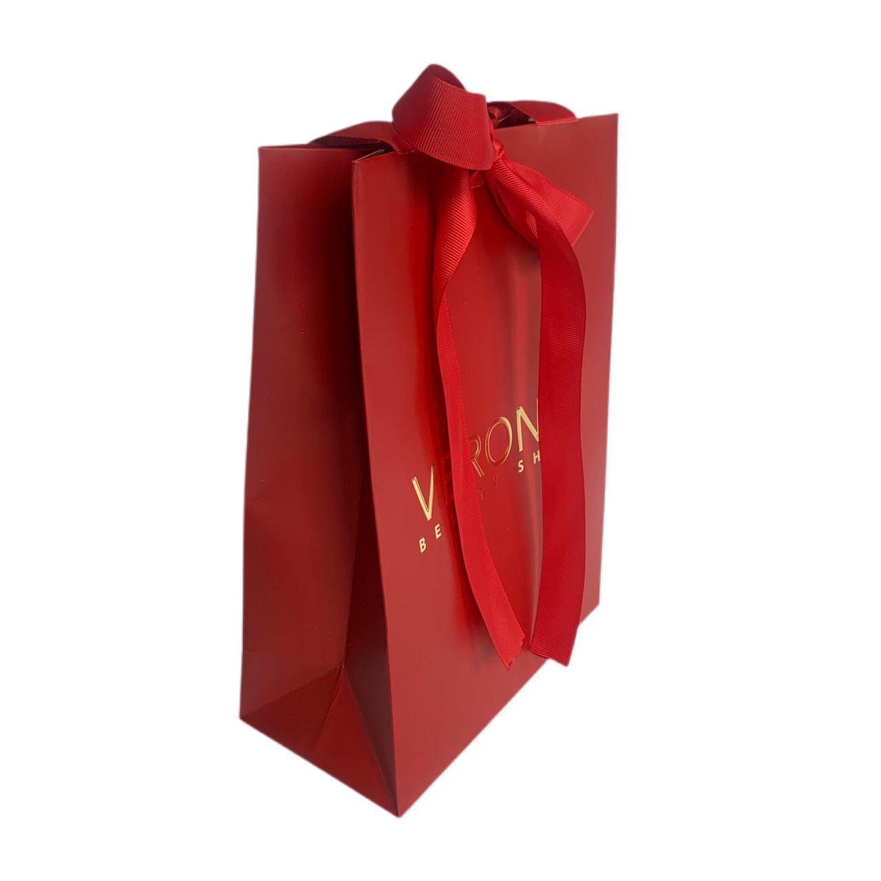 Красный подарочный пакет VERONA