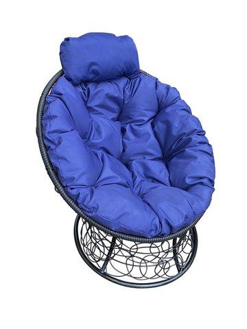 Кресло «Папасан» пружинка black/blue