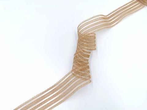Резинка с прозрачными нейлоновыми вставками, 3,5 см, телесная, (Арт: RNV-006), м