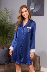 Рубашка натуральный шелк с кружевом Mia-Mia 15114 синий