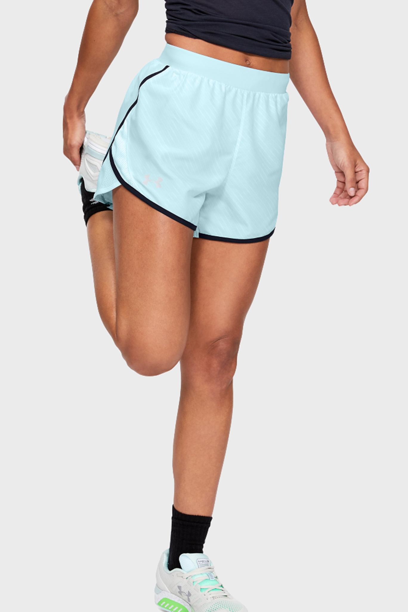 Женские голубые шорты W UA Fly By 2.0 Printed Short-BLU Under Armour