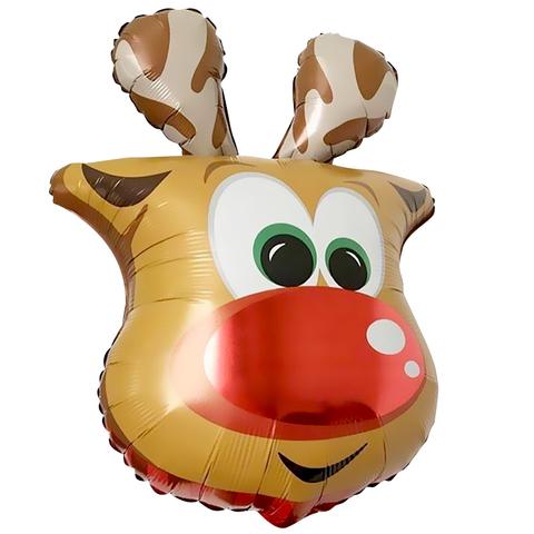 Фольгированный шар, Голова Веселого Оленя,66см.