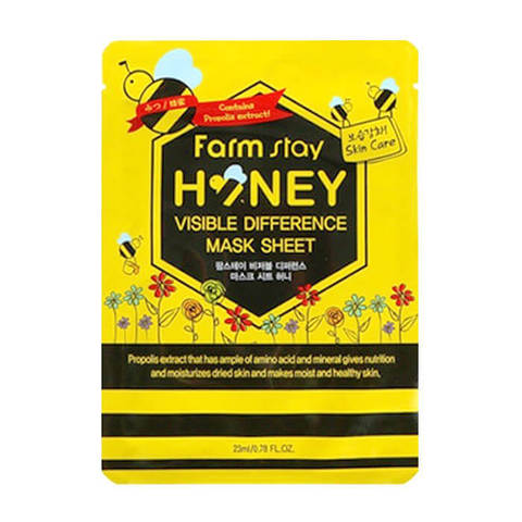 Тканевая маска для лица с экстрактом мёда и прополисом FarmStay Visible Difference Mask Sheet Honey