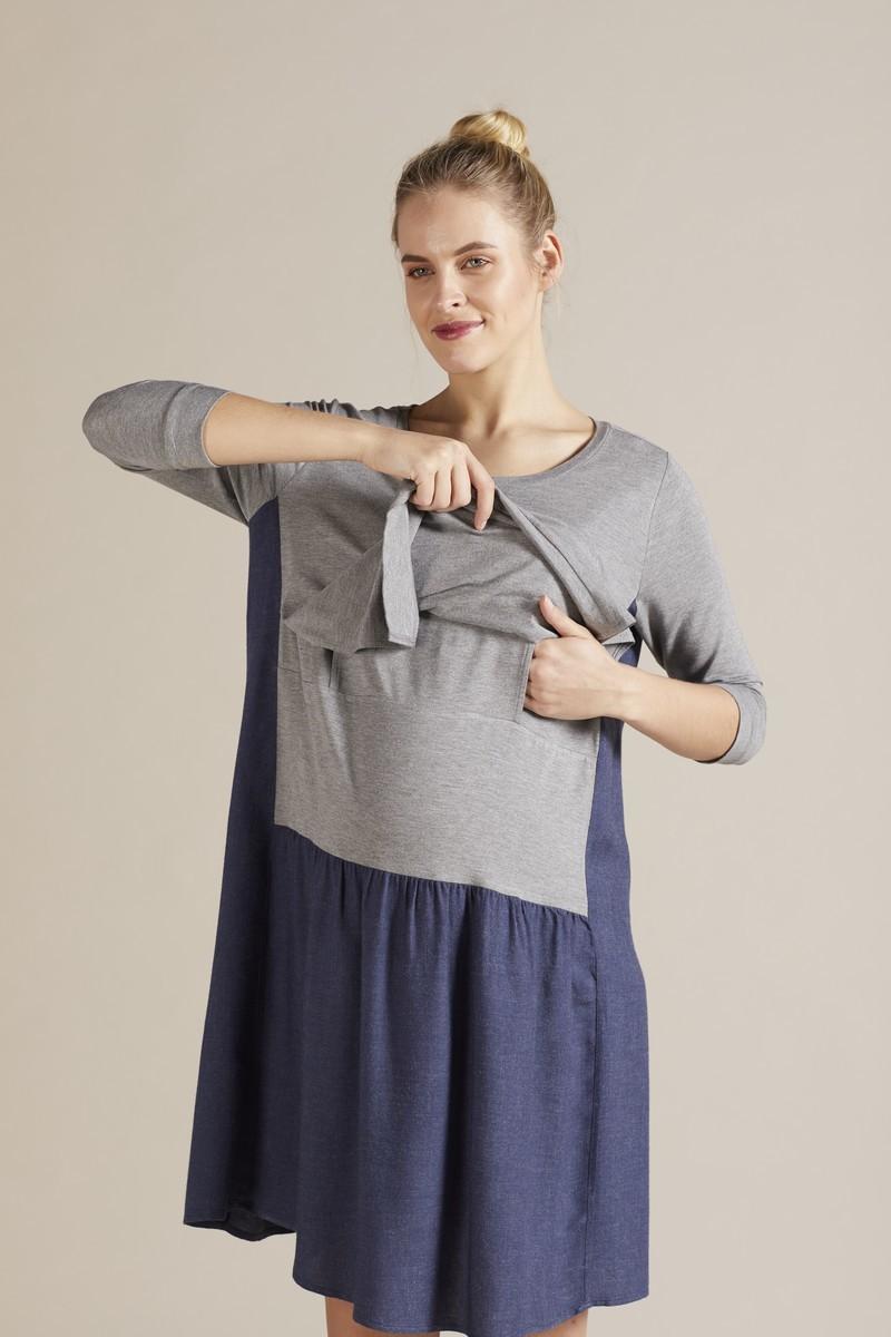 Фото платье для беременных и кормящих GEBE от магазина СкороМама, темно-голубой, размеры.
