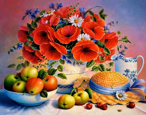 Алмазная Мозаика 40x50 Натюрморт с яблоками (арт. SGL70549)