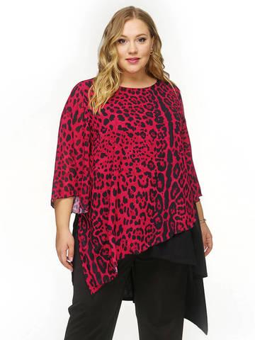 Туника многоуровневая Красный леопард