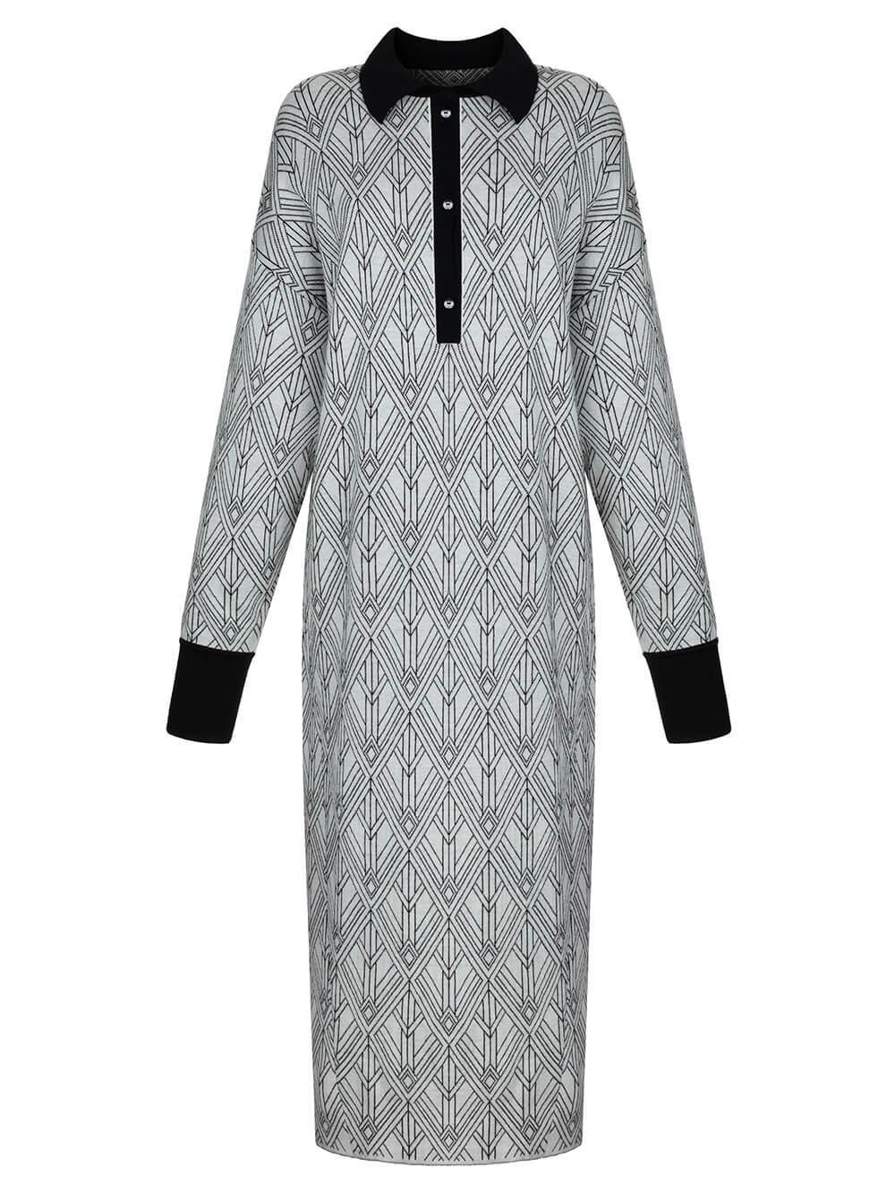 Женское платье молочного цвета из шерсти и шелка - фото 1