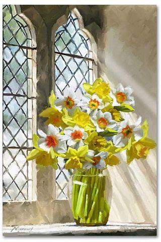 Алмазная Мозаика 40x50 Белые и желтые цветы у окна