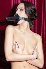 Чёрный кляп-фаллос на кожаных ремешках