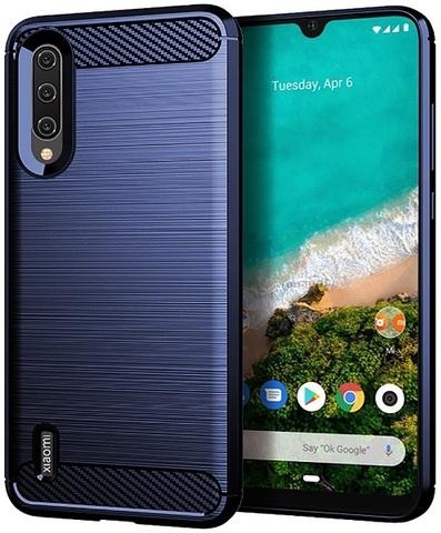 Чехол для Xiaomi Mi A3 (CC9E) цвет Blue (синий), серия Carbon от Caseport
