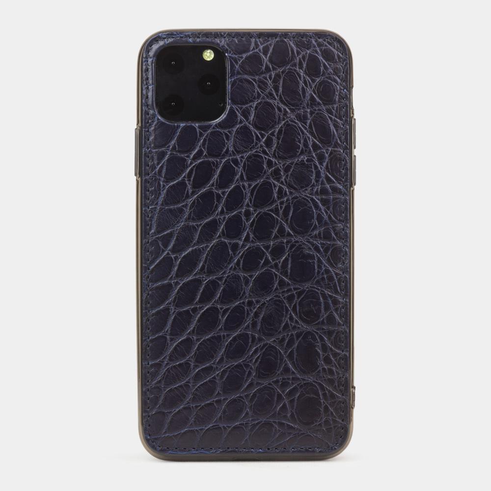 Special order: Чехол для iPhone 11 Pro Max из натуральной кожи аллигатора, темно-синего цвета