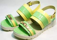 Летние босоножки на плоской подошве женские Crisma 784 Yellow Green.