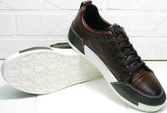 Кожаные кеды мужские. Удобные кроссовки на каждый день Luciano Bellini C6401 MC Bordo.