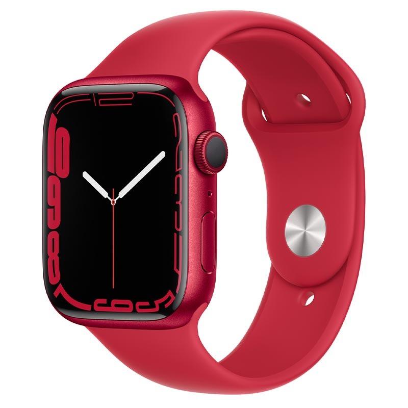 Apple Watch Series 7, GPS, 45 мм, корпус из алюминия красного цвета, спортивный ремешок (PRODUCT)RED