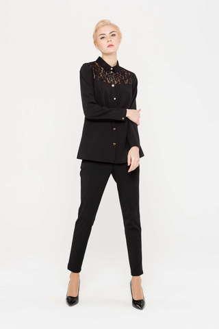 Фото черная прямая блуза с кружевной кокеткой - Блуза Г680-393 (1)