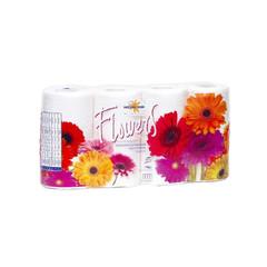 Бумага туалетная Мягкий знак Flowers 2-слойная белая с цветочным ароматом (8 рулонов в упаковке)