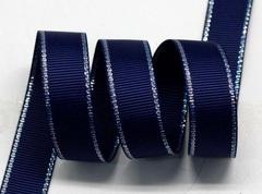 Лента репсовая Морская с люрексовой каймой ширина 9 мм