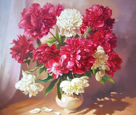 Алмазная Мозаика 40x50 Букет розовых и белых пионов в вазе (арт. GA70726)