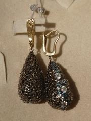 Эстера с топазом (серьги из золота и серебра)