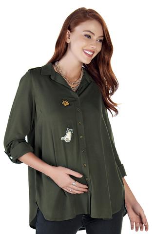 Рубашка для беременных 09027 зеленый