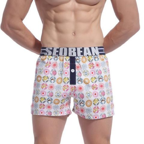 Мужские шорты белые с рисунком Seobean Mens Sport Lounge Shorts