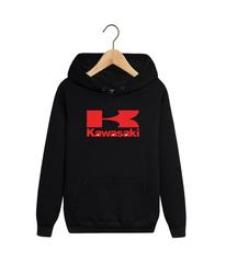 Толстовка черная с капюшоном (худи, кенгуру) и принтом Кавасаки (Kawasaki) 0010