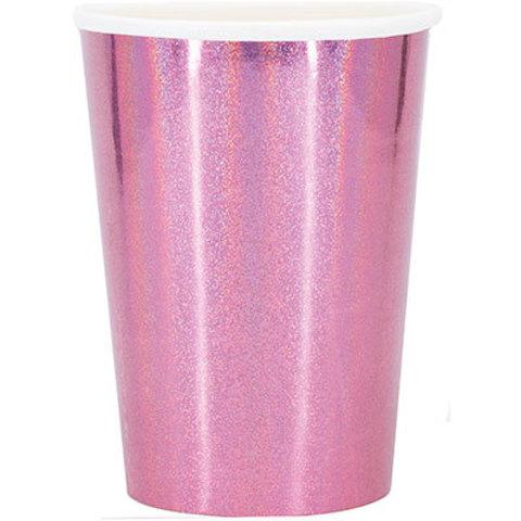 1502-4084 Стаканы голографические розовые, 6 шт