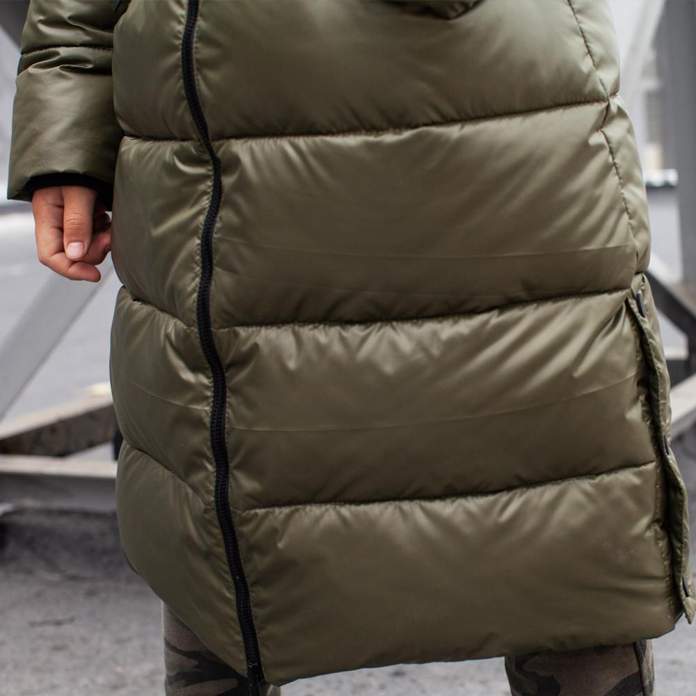 Подростковое зимнее пальто цвета хаки на мальчика