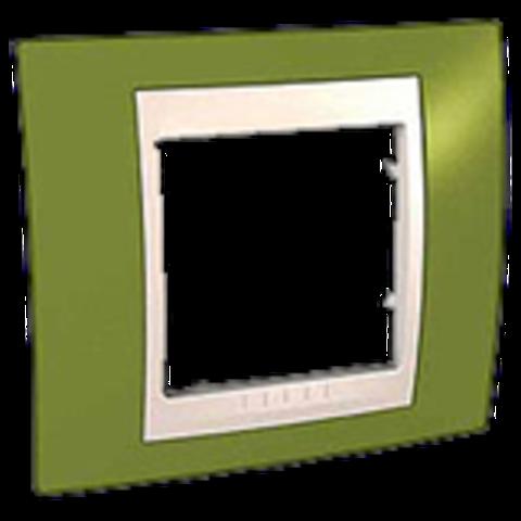 Рамка на 1 пост. Цвет Фисташковый/Бежевый. Schneider electric Unica Хамелеон. MGU6.002.566