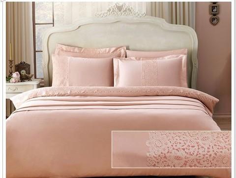 Постельное белье FORZA  розовый с кружевом deluxe TIVOLYO HOME Турция