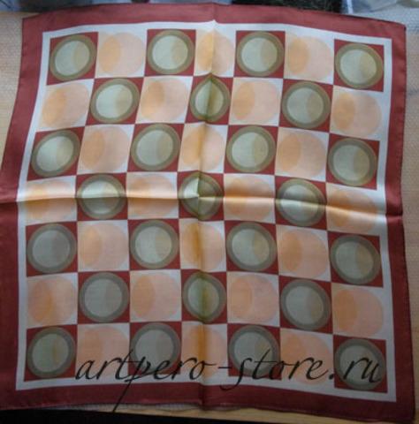 Квадратный платок, атлас (100% шёлк)(круги 2)
