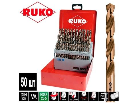 Набор сверл по металлу 1-5,9мм 50шт DIN338 HSSE-Co5 Ruko 215217