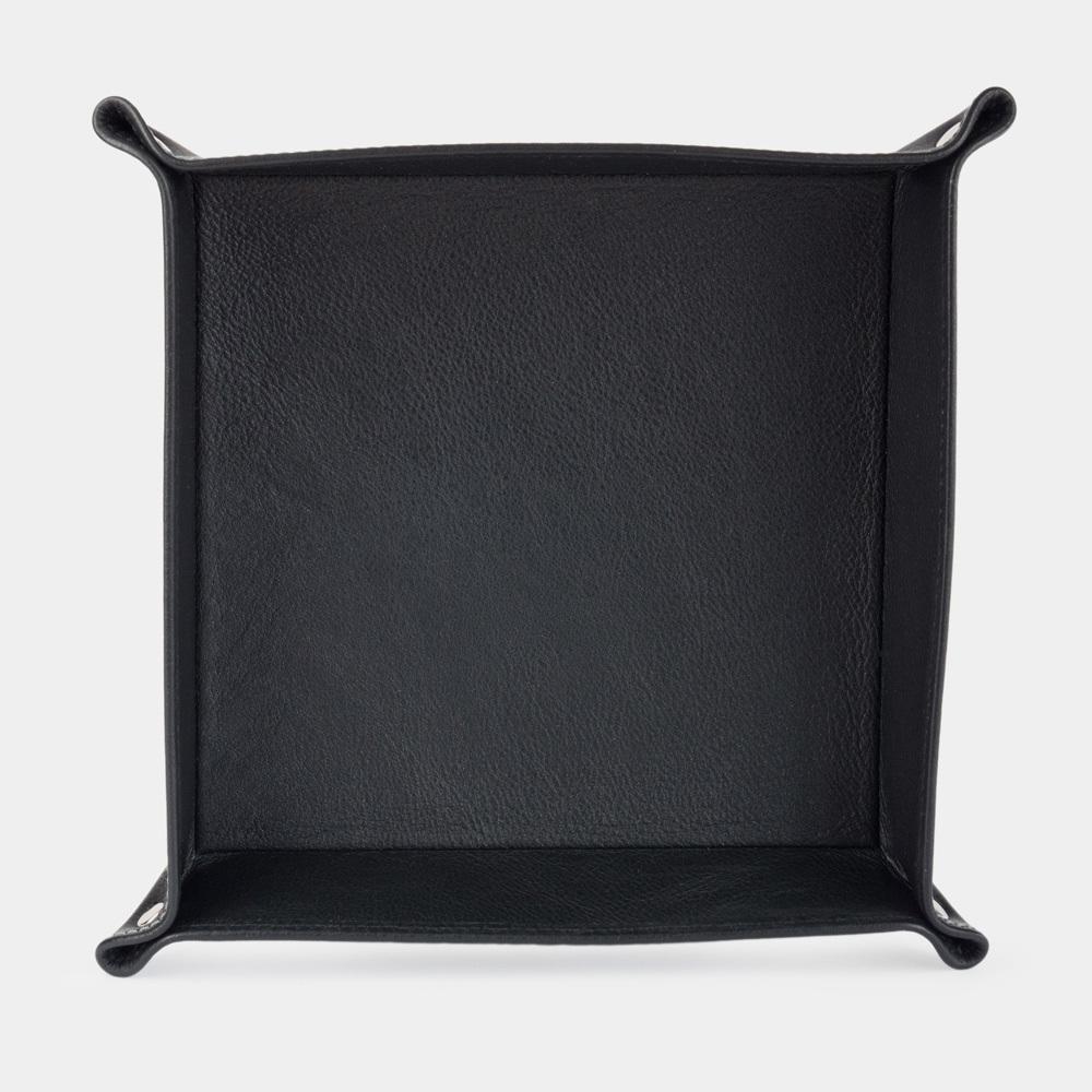 Лоток для мелочи из натуральной кожи теленка, черного цвета