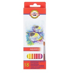 Набор школьных акварельных карандашей FISH 18 цветов в картонной коробке