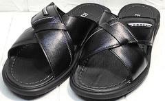 Модные босоножки шлепанцы мужские кожаные Brionis 155LB-7286 Leather Black.