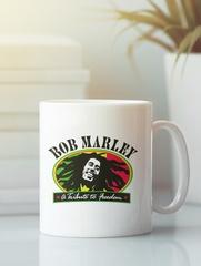 Кружка с рисунком Боб Марли (Bob Marley) белая 007