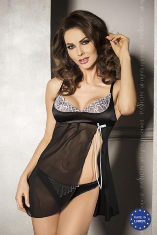 Нежная черная сорочка и трусики CAROLE L/XL 13153PAS
