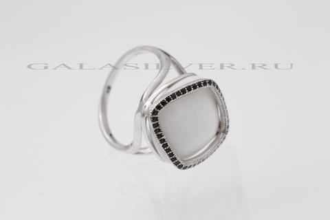 Кольцо с агатом и цирконом из серебра 925