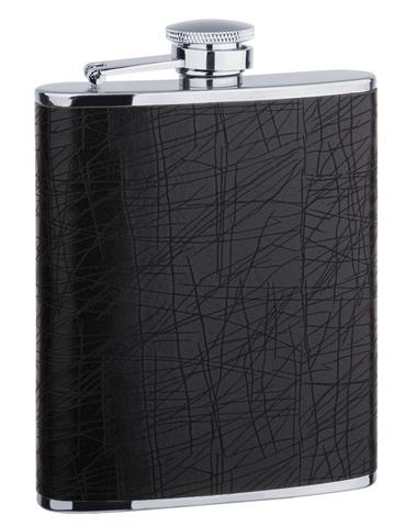 Фляга S.Quire (0,24 литра), сталь+искусственная кожа, черная