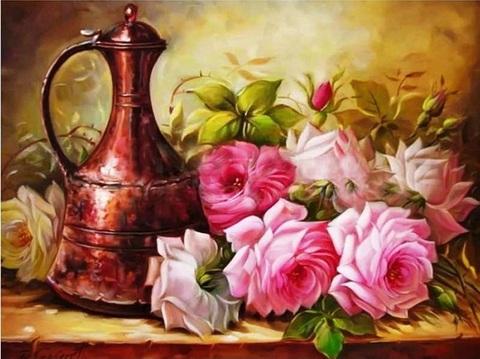 Алмазная Мозаика 20x30 Чайник и букет цветов (арт. JS20573 )