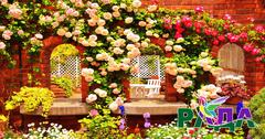 """Фотосетка """"Рада"""" для декора забора """"Двор в цветах"""" 158х300 см."""