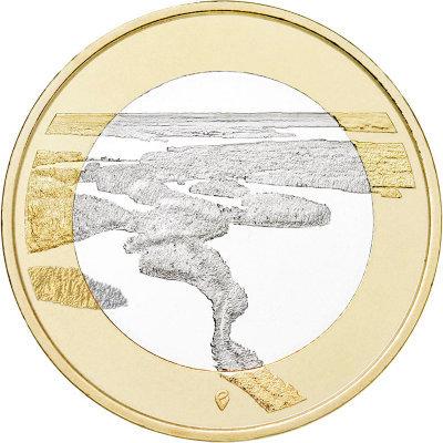 """5 евро Финляндия """"Финские национальные ландшафты Пункахарью"""" 2018 год"""