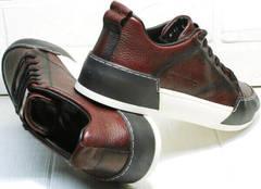 Стильные кеды кроссовки осенние мужские Luciano Bellini C6401 MC Bordo.