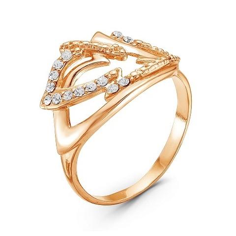Кольцо с стеклом и позолотой