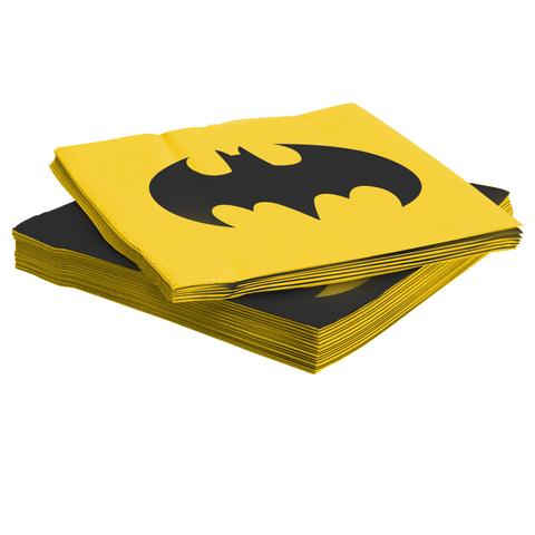 Салфетки, Бэтмен, Желтый/Черный, 33*33 см, 12 шт.