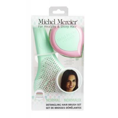 Michel Mercier: Набор щеток в пастельных тонах для нормальных волос (классическая и компактная) (Pastel Classic and Travel Detangling Brushes set for Normal hair)