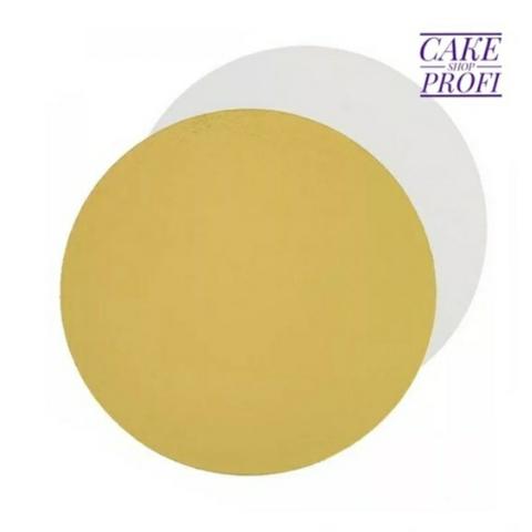 Подложка усиленная 3,2мм. (золото/белая) d.30см