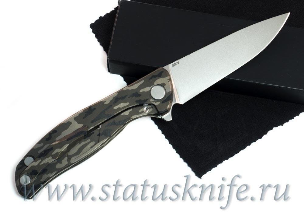 Нож Широгоров Flipper 95 Камуфляж S90V насечки подшипники - фотография